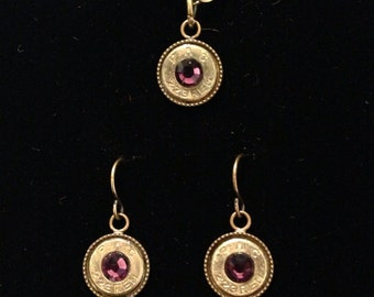Bullet casing jewelry purple and gold LSU 9mm 40 caliber 380 auto 38 special 357magnum 223 270