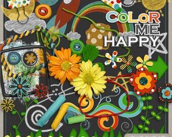 Color Me Happy Digital Scrapbook Element Pack