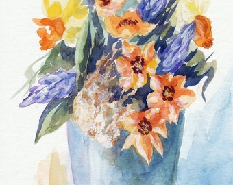Original Aquarell, Flowers, Painting, Watercolor, Handpainted,  7,5 x11,4 inch. NOT a print. Tatiana-Art