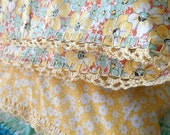 Sweet Floral Pillowcase with Crochet Trim
