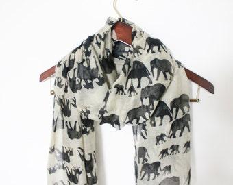 Black Elephant Scarf Grayish White Scarf with Black Elephant