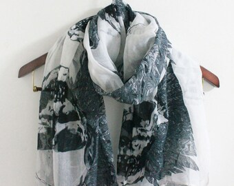 Skull Scarf Big Skull Scarf White Scarf With Repeat Skull Pattern Cool Skull With Tree Scarf