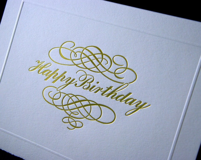 Happy Birthday Letterpress Card. Gold Foil. Script. Blind embossed border. Single card. Blank inside.