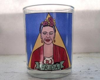 Frida Kahlo Glass Votive Candle // LGBTQ Altar Candle