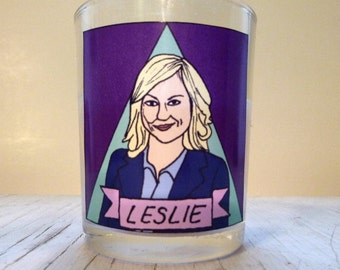 Leslie Knope Glass Votive Candle - LGBTQ Altar Candle
