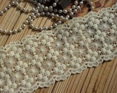 "Lace Trim Ivory Cotton Embroidery Lace Fabric Wedding Fabric 3.34"" width 1 yard"