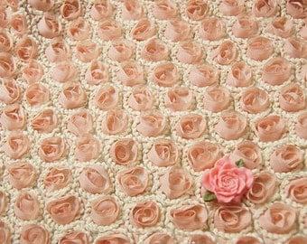 """Lace Fabric 3D Rose Pink Chiffon Rose Crochet Soft Lace Wedding Fabric 51.18"""" width 1 yard"""