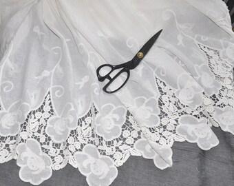 "Lace Fabric Milk White Both Sides Embroidery Flower Wedding Fabric DIY Handmade 51.11"" width 1 yard"