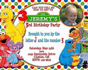 Sesame Street Invitation with Photo / You Print  Digital File Birthday Party Invite