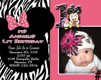 Baby Minnie Mouse Zebra 1st Birthday Invitation with Photo / You Print   Printable Digital File