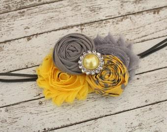 Golden Yellow and Gray Baby Headband, Yellow and Gray Rosettes Headband, Yellow and Gray Shabby Chic Headband