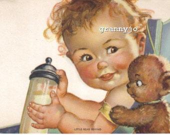 1940's Baby Calendar Art Lithograph, Titled: Little Bear Behind  by Charlotte Bcker #363