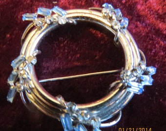 Fabulous Vintage Sterling Silver, Rhinestone, and Blue Bagette Stone Brooch From the 70's