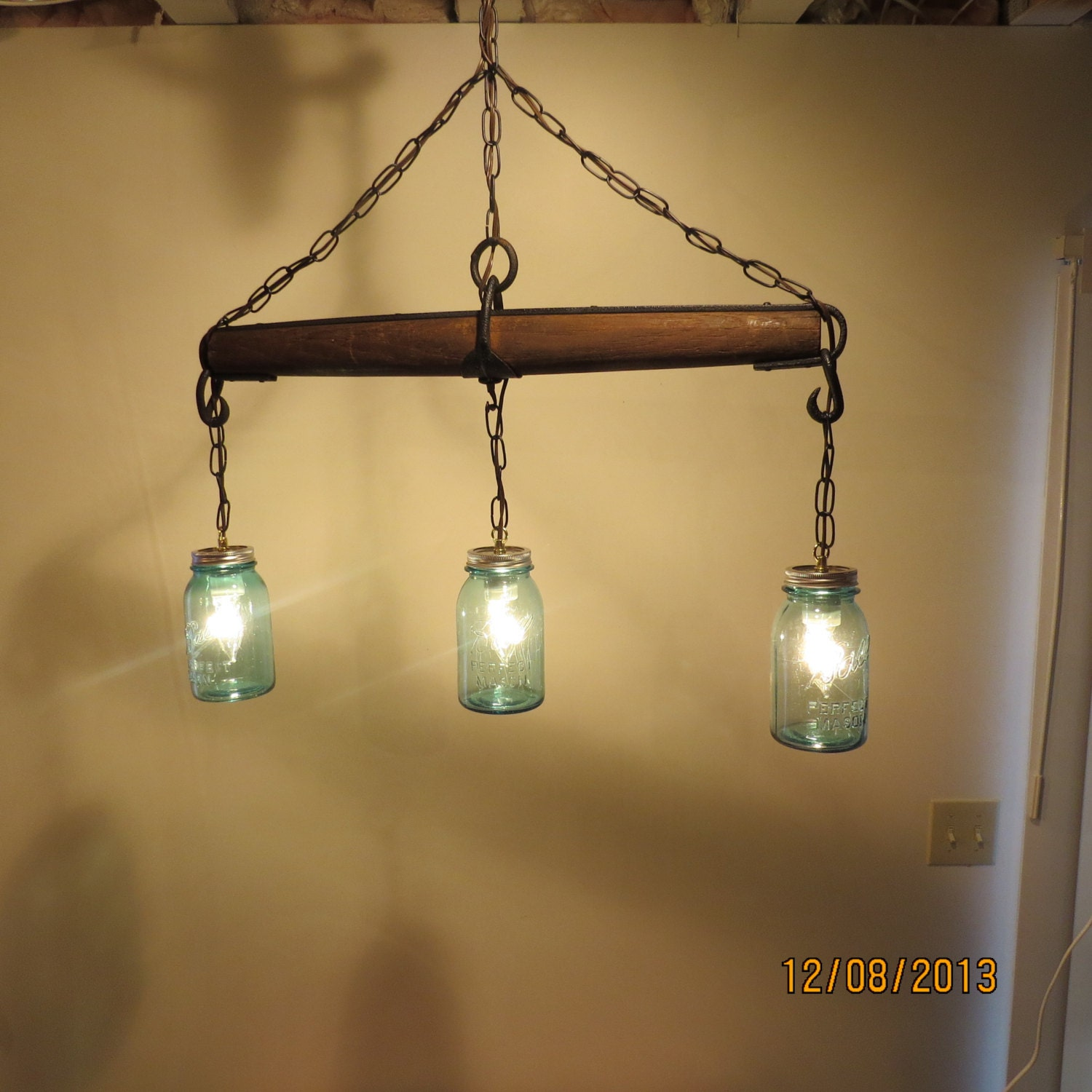 Just Reduced Rustic Handmade 3 Bulb Hanging Light Fixture Or