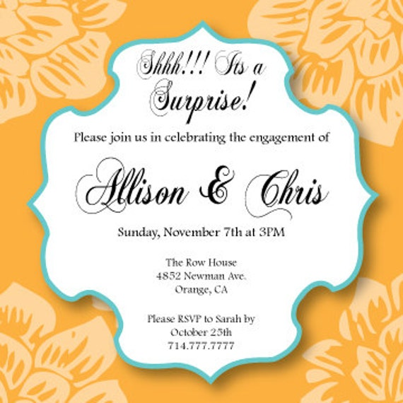 Items similar to surprise engagement party invitation on etsy for Etsy engagement party invites