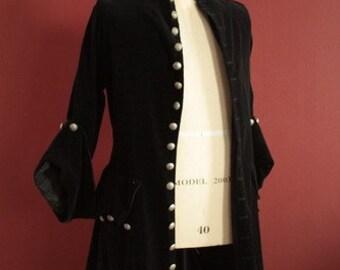 Black velveteen frock coat pirate mens womens buccaneer swashbuckler renaissance costume