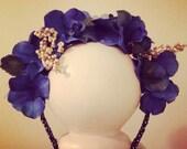 Floral head crown , beautiful blue