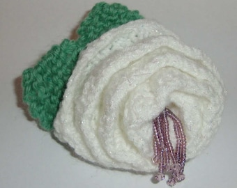 Suffragette colours inspired hand knitted brooch