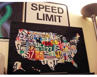 License Plate Map Of The United States Metal Artwork - Us map license plates