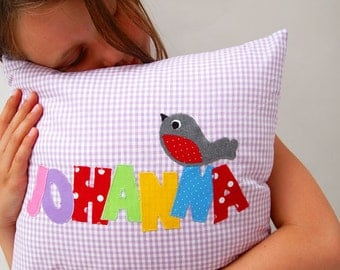 pillow with name and bird