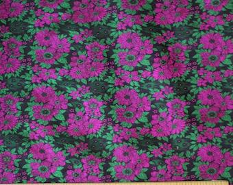 "Emerald/Fuchsia Satin Brocade Jacquard 100% Silk Fabric, 44"" Wide, By The Yard (JD-365)"