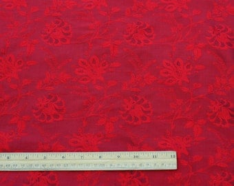 "Burgundy Red Flowery Dupioni Jacquard 100% Silk Fabric 54"" Wide, By The Yard (JD-411J)"
