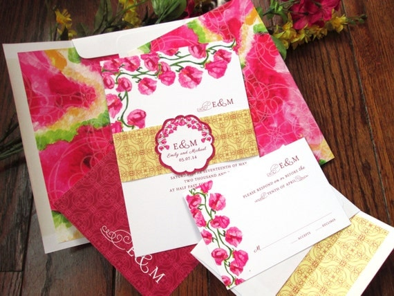 Sweet Pea Floral Wedding Invitation Set – Pink, Yellow - Customized - Available in Sets/ Quantities of 25+