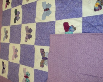 Full Size Purple Butterfly Applique Quilt