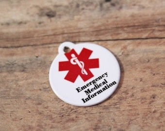 Emergency Medical Information Id- {Double sided} Allergy Tag- Child Id- Medical Id Tag-- Child Identification- Alzheimer's Id
