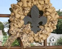 Natural and black scroll burlap wreath with wooden fleur de lis