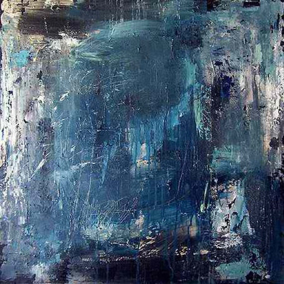 Blue abstract painting / Minimalist color field large modern art / Made to order / 44x44 / ELSTON