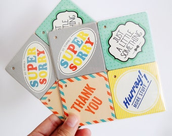 Gift Tags: Tag it up! / Set of 4 / Ltd. Edition (Sorry – A Little Something – Thank You – Hurray)