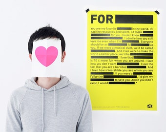 LOVE NOTE / Poster / 420 x 594 mm / Neon Yellow