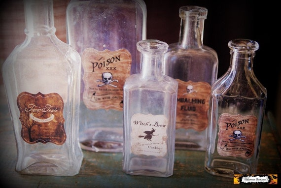 5 halloween potion bottles apothecary by halloweenboutique for Halloween medicine bottles