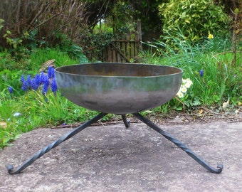 Bespoke Blacksmith Hand Made Fire Pit / Pan BBQ Barbecue Brazier made from recycled Steel. Ideal for Patio Camping, Festivals, Forest School