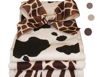 Animal Prints Burp Cloth Set - Baby Shower Gift