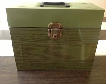 vintage hamilton skotch porta file office storage filing box with key avocado green wood grain