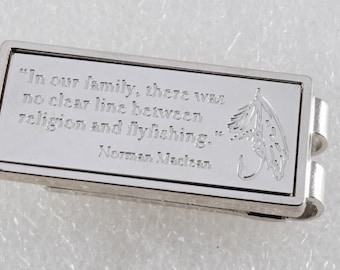 Vintage Norman Maclean religion and flyfishing silver plated money clip new old stock