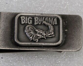 Rare Vintage Collectible Nickel Plated Big Bwana African Elephant Money Clip New Old Stock