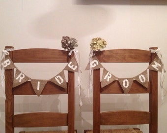 Hessian Bride & Groom wedding chair banner / burlap bunting