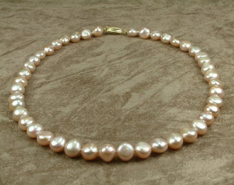 Pink Pearl Necklace 10 - 11 mm (Κολιέ με Ροζ Μαργαριτάρια 10 - 11 mm)