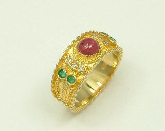 Gold 18k Byzantine Ring with Brilliants, Emeralds and Ruby (Χρυσό 18k Βυζαντινό Δαχτυλίδι με Μπριγιάν, Σμαράγδια και Ρουμπίνι)