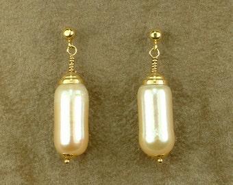Gold 18k Hanging Earrings with Pink Cylinder Pearls (Χρυσά 18k Κρεμαστά Σκουλαρίκια με Ροζ Μαργαριτάρια Κυλίνδρους)