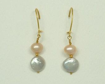 Gold Hanging Earrings with Pearls (Κρεμαστά Χρυσά Σκουλαρίκια με Μαργαριτάρια)