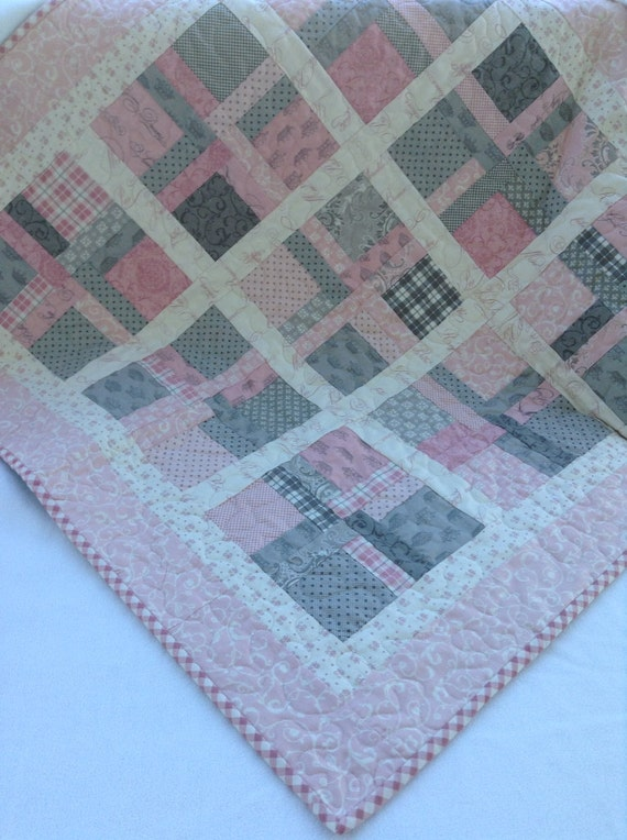 Sweet Baby Girl Pink And Gray Quilt Soft Cuddly