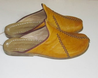 Turkish Yemeni Organic Hand Made Genuine Leather Shoes slipper yellow 34 to 47