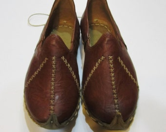 Turkish Yemeni Organic Hand Made Genuine Leather Shoes  Brown. Number feet from 34 to 47