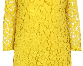 Yellow Guipure Lace Dress with shoulder pads by ROSAvelt