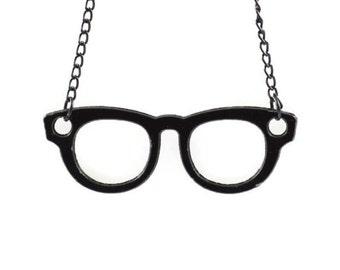 BLACK GLASSES PENDANT  - Black Wayfarer Glasses Cut Out Pendant Charm (6cm x 2.1cm)