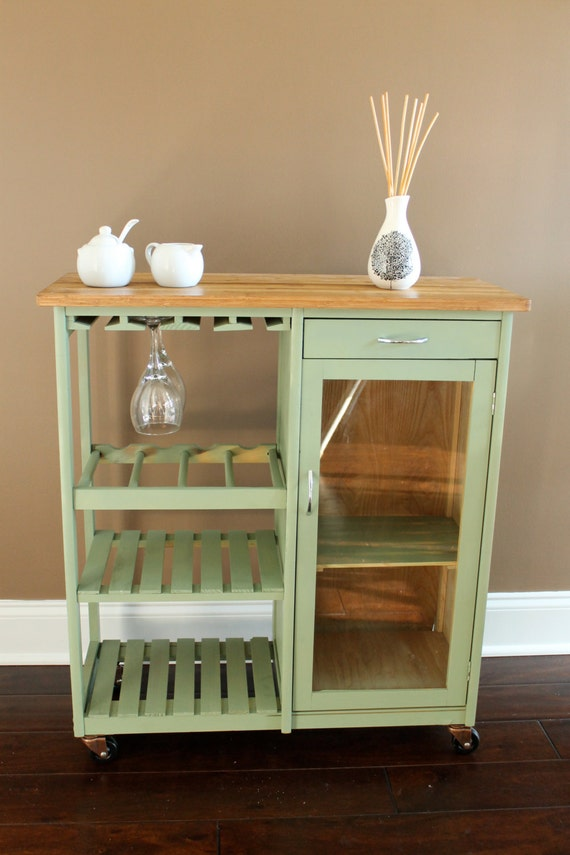 kitchen island and wine rack by paintedolives on etsy